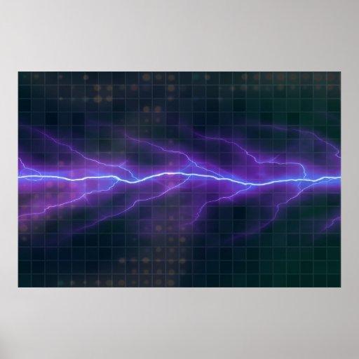 Contexto púrpura de la electricidad del relámpago poster