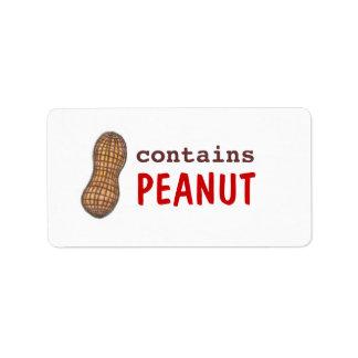 Contiene la etiqueta del cacahuete etiquetas de dirección