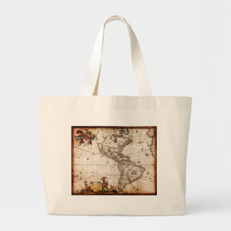 Continent of America Old Map Large Tote Bag