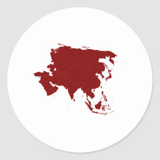 Continent of Asia Classic Round Sticker
