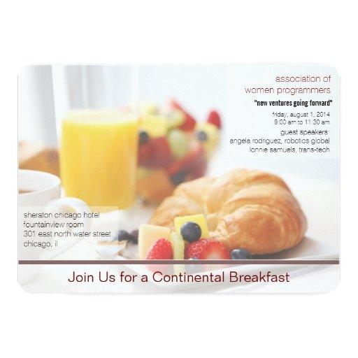 Continental Breakfast Meeting Invitation Zazzle
