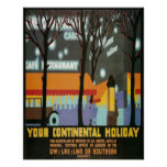 Continental Holiday Vintage Poster Print