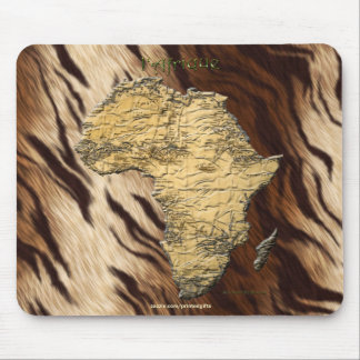Continental Map of Africa on Faux Fur Background Mouse Pad