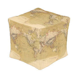 Continental Map Pouf