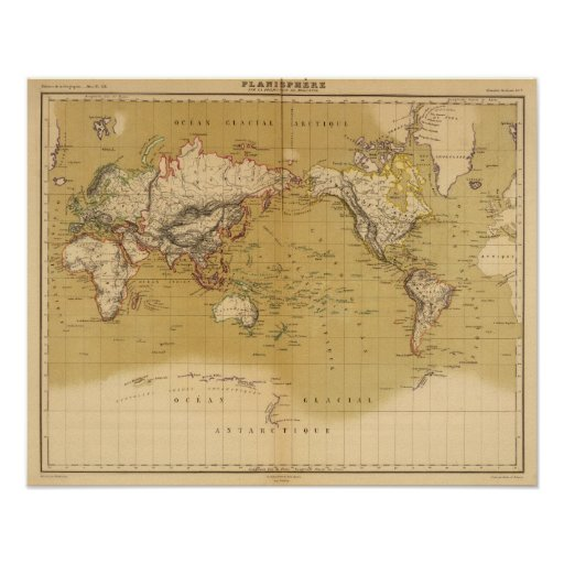 Continental Map Print