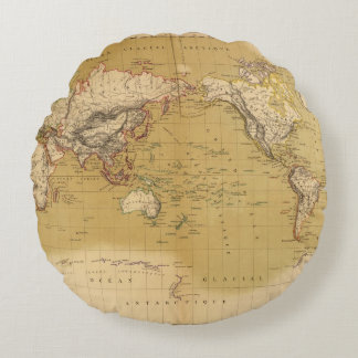 Continental Map Round Pillow