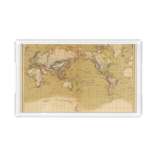 Continental Map Serving Tray