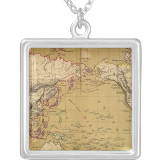Continental Map Silver Plated Necklace