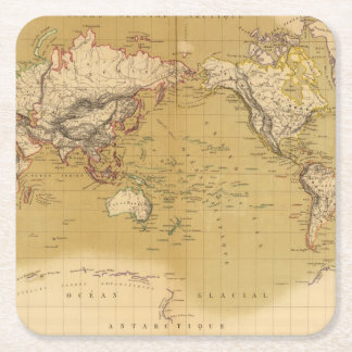 Continental Map Square Paper Coaster