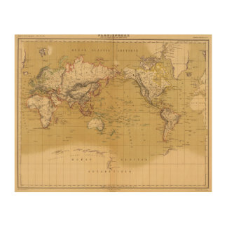 Continental Map Wood Wall Decor