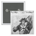 Continental Soldier holding a musket flag 2 Inch Square Button