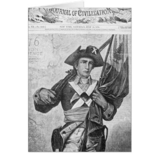 Continental Soldier holding a musket flag Card
