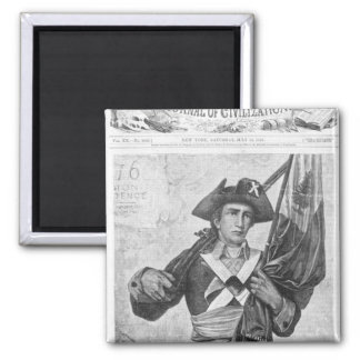Continental Soldier holding a musket flag Refrigerator Magnets