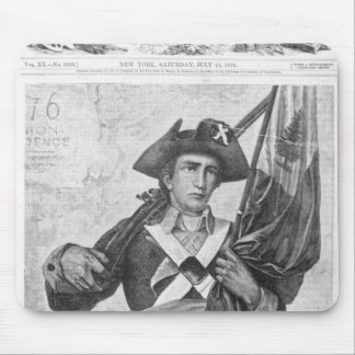 Continental Soldier holding a musket flag Mousepads