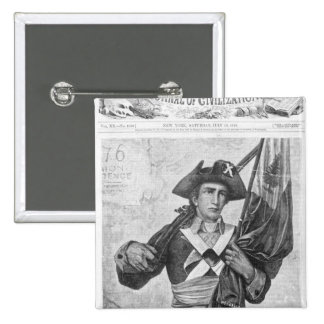 Continental Soldier holding a musket flag Pinback Button