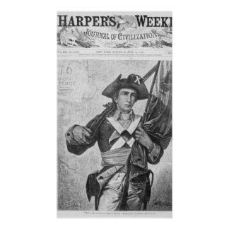 Continental Soldier holding a musket flag Poster