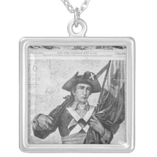 Continental Soldier holding a musket flag Silver Plated Necklace