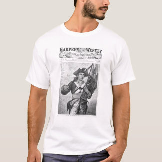 Continental Soldier holding a musket flag T-Shirt