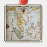 Continente Asia sudoriental, detalle del atlas del Adorno Navideño Cuadrado De Metal