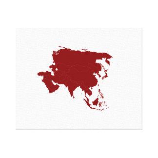 Continente de Asia Lienzo Envuelto Para Galerías