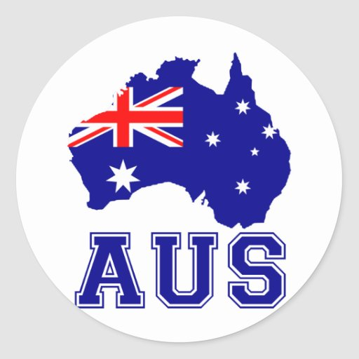 Continente de Australia Etiqueta Redonda