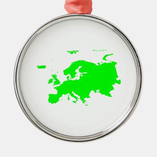 Continente de Europa Adorno Redondo Plateado