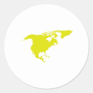 Continente de Norteamérica Pegatina Redonda