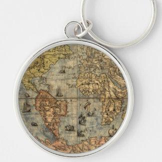 Continentes históricos del atlas del vintage del llavero redondo plateado