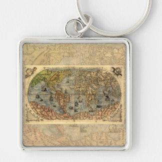 Continentes históricos del atlas del vintage del llavero cuadrado plateado