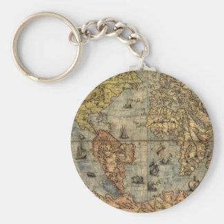 Continentes históricos del atlas del vintage del llavero redondo tipo chapa