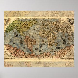 Continentes históricos del atlas del vintage del póster
