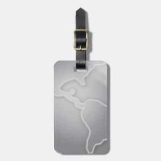 CONTINENTES METÁLICOS DE PLATA BACKGRO de la grays Etiquetas Para Equipaje
