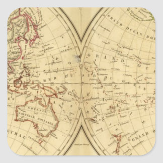 Continentes Pegatina Cuadrada