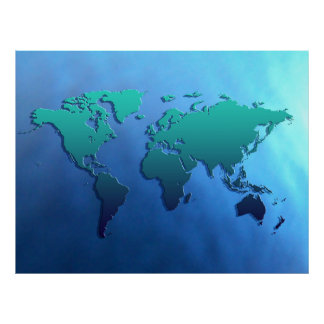 continentes planos de la tierra 3D el arte del Posters