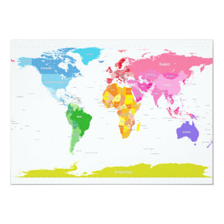 Continents World Map 13 Cm X 18 Cm Invitation Card