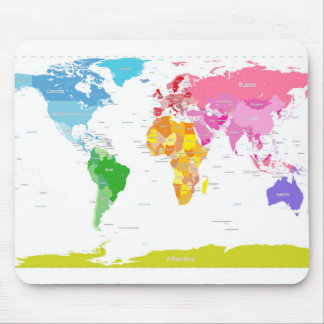 Continents World Map Mouse Pad