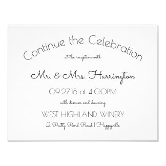 Continue the Celebration Wedding Reception Card