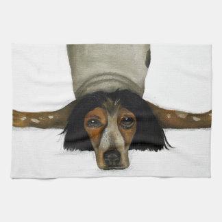 Contorsionista canino toallas de mano