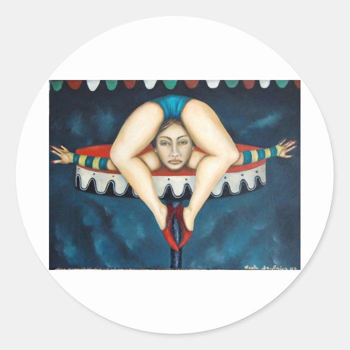 contortionist classic round sticker