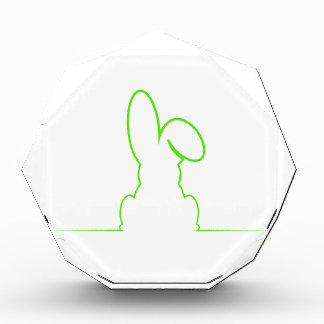 Contour of a hare light green acrylic award