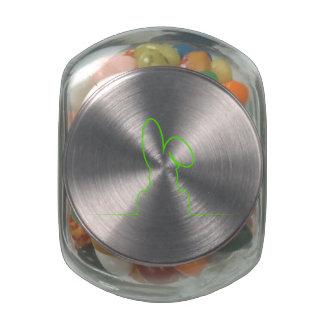 Contour of a hare light green glass candy jar