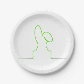 Contour of a hare light green paper plate