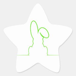 Contour of a hare light green star sticker