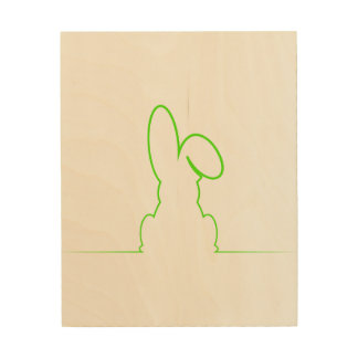 Contour of a hare light green wood wall decor
