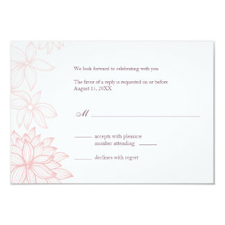 Contoured Bloom Blush Reply Card