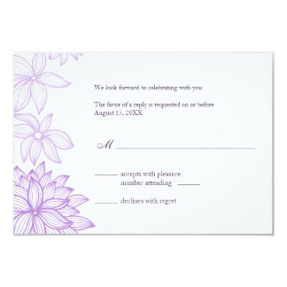 Contoured Bloom Lilac Reply Card