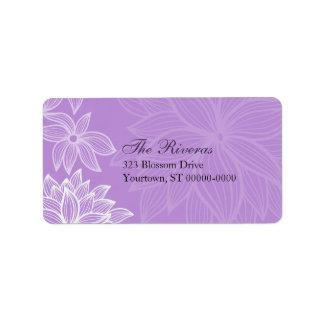Contoured Bloom Lilac Wedding Address Label