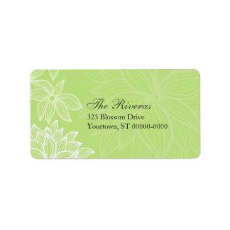 Contoured Bloom Lime Wedding Address Label