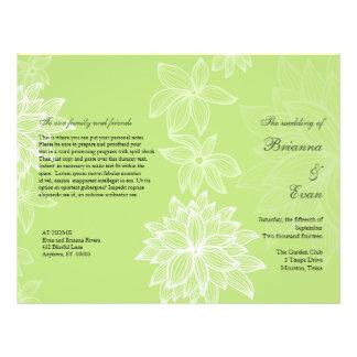 Contoured Bloom Lime Wedding Program Flyer