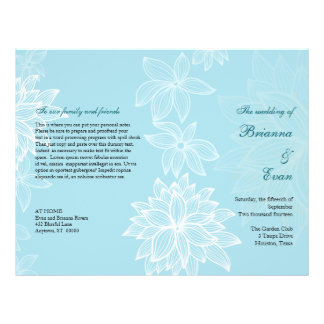 Contoured Bloom Sapphire Wedding Program Flyer